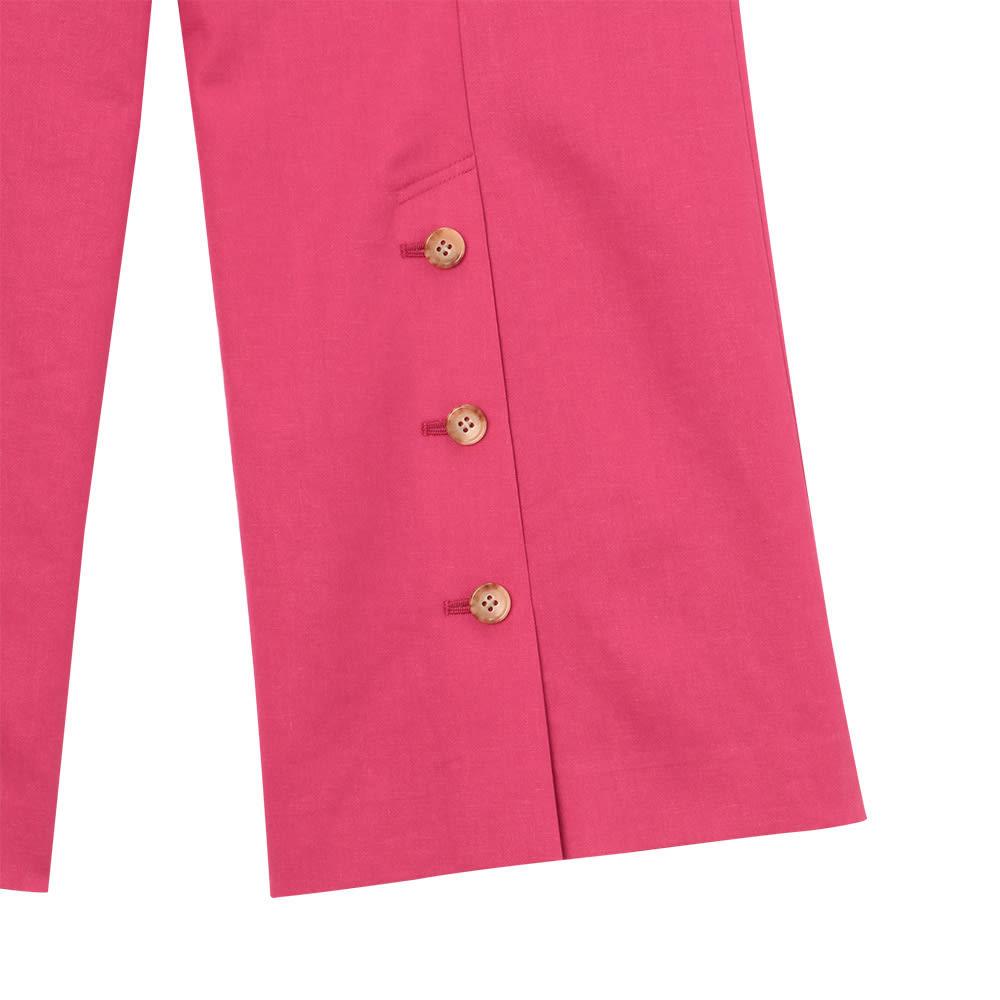 リネン混 ボタン使い ワイドパンツ 後ろ裾のボタンは開け閉めが可能です。 BACK