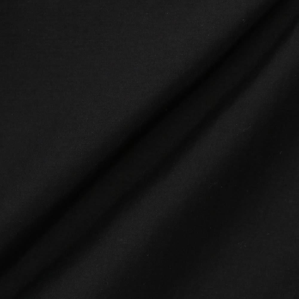 コットンシルク レース&ピンタック ブラウス (イ)ブラック 生地アップ