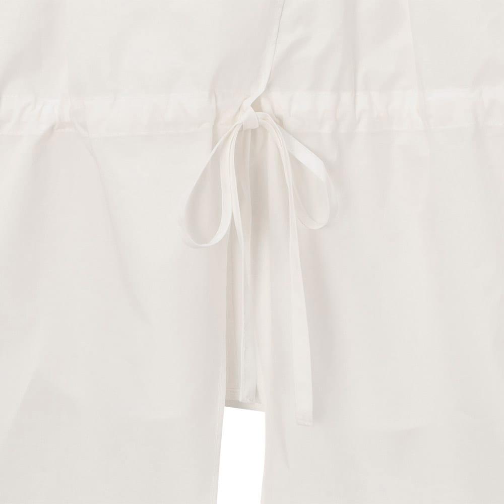コットン ブロード スキッパーシャツ 共布リボンのドローストリング仕様