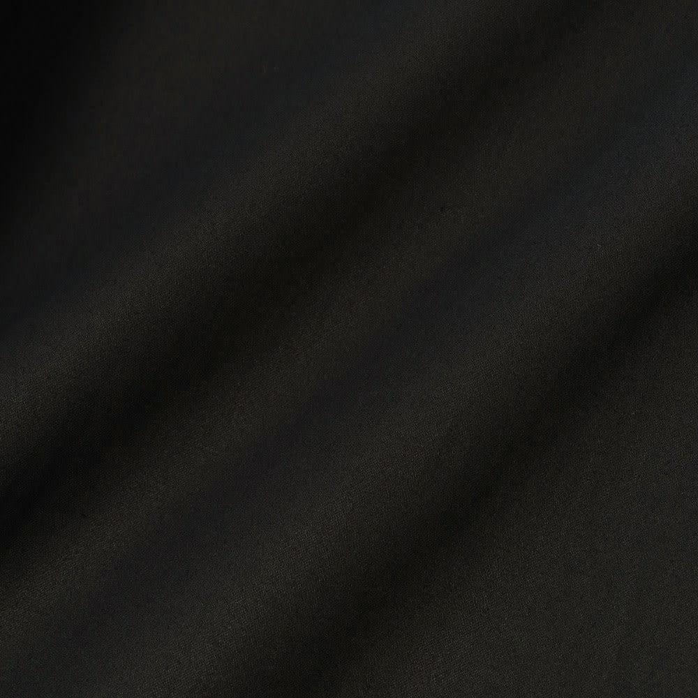裾切替 ロングフレアースカート (ア)ブラック 生地アップ