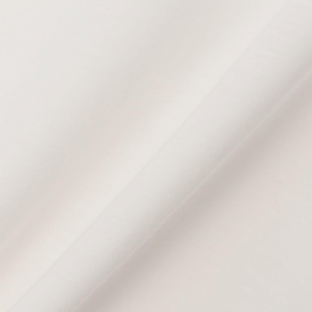 インド超長綿 テクノラマ ドレープ Tシャツ (ア)オフホワイト 生地アップ