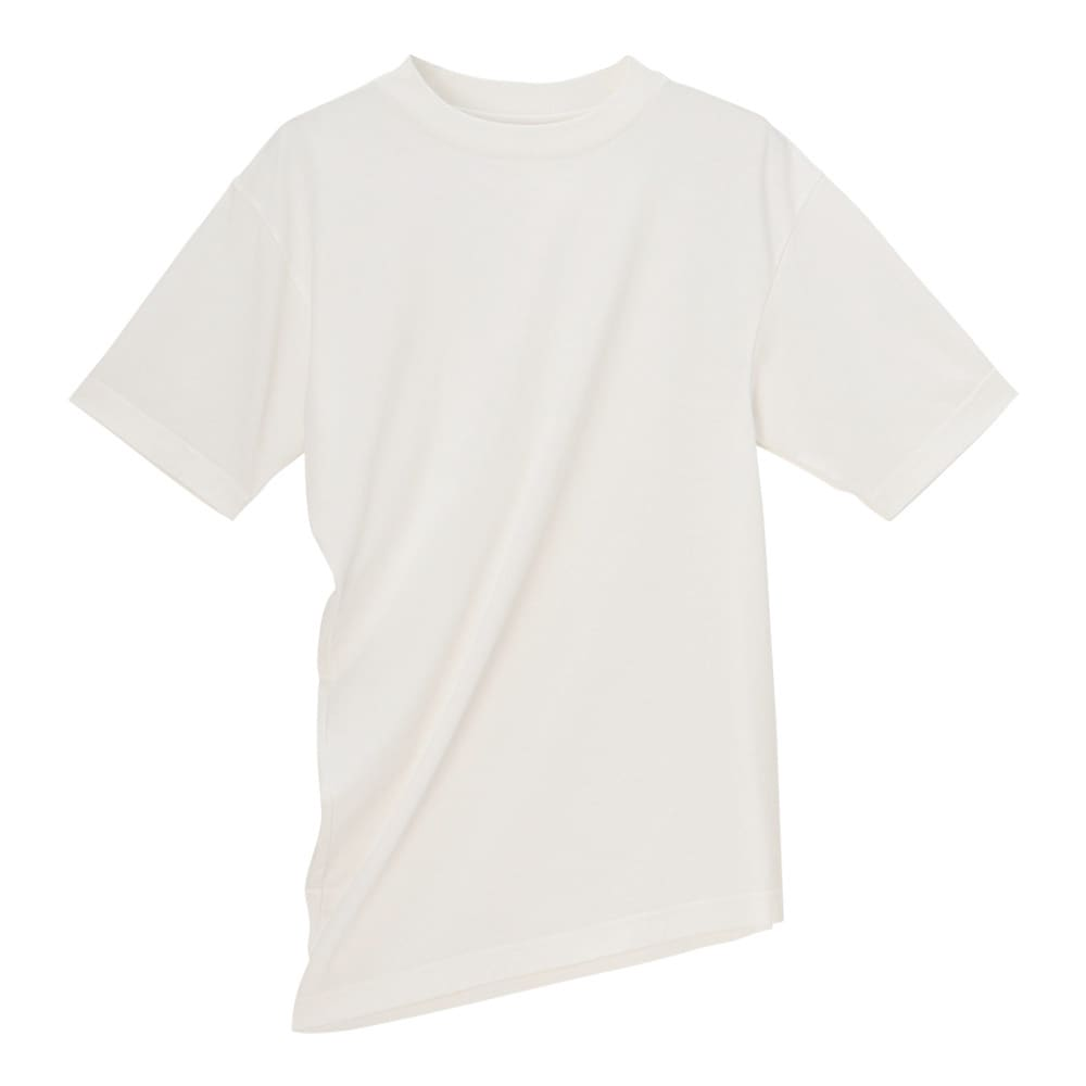 インド超長綿 テクノラマ ドレープ Tシャツ (ア)オフホワイト 置いた状態ではこんな斜めなパターンなのです。