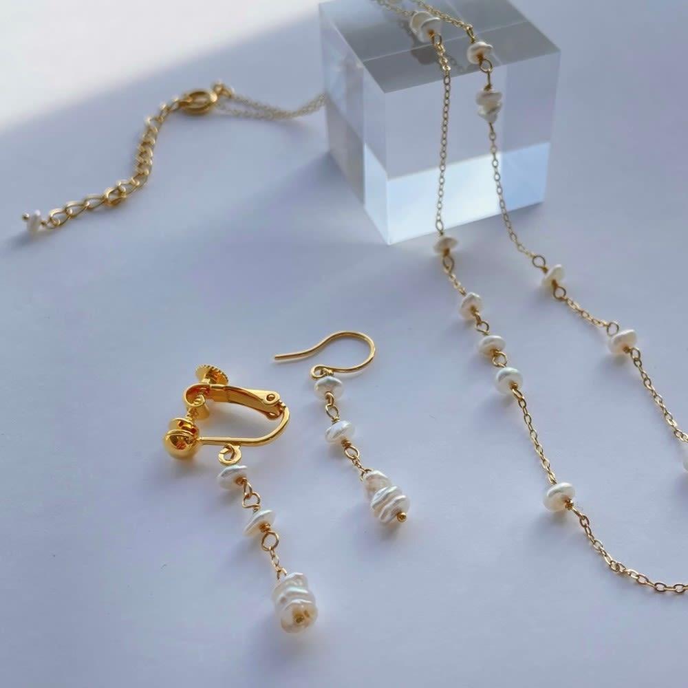 YUKIKO OKURA/ユキコ・オオクラ 淡水ケシパール イヤリング・ピアス 左から (ア)イヤリング (イ)ピアス ※ネックレスは別売りです
