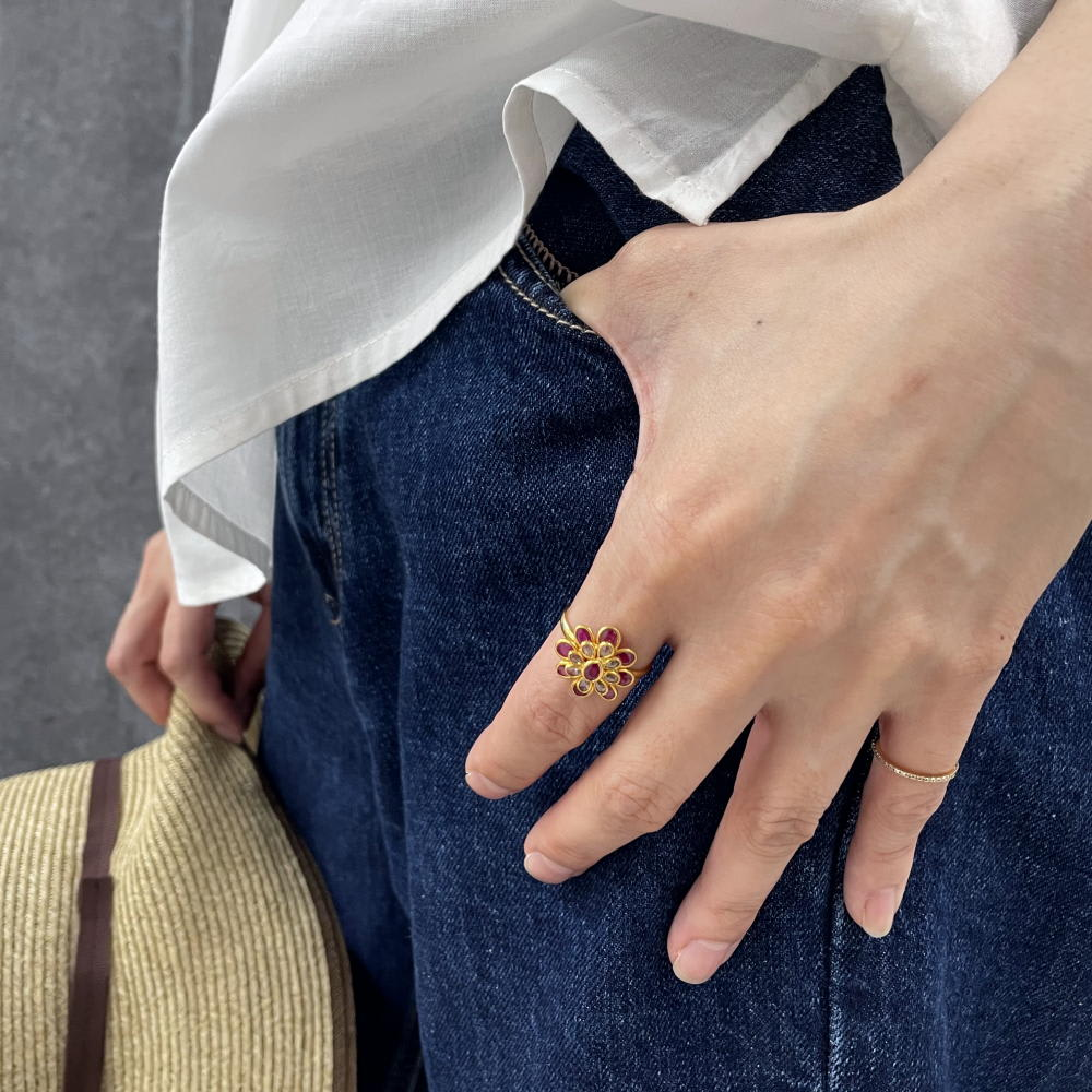 【1点物】YUKIKO OKURA/ユキコ・オオクラ K22 ブラウンダイヤ・ルビー リング
