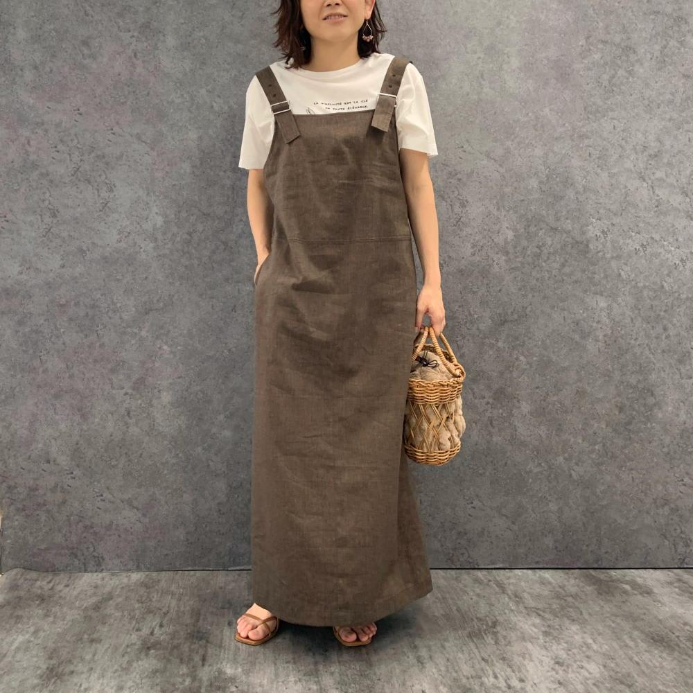 コットン天竺 モノトーン刺繍 Tシャツ オフホワイト H156 着用サイズ:S~M