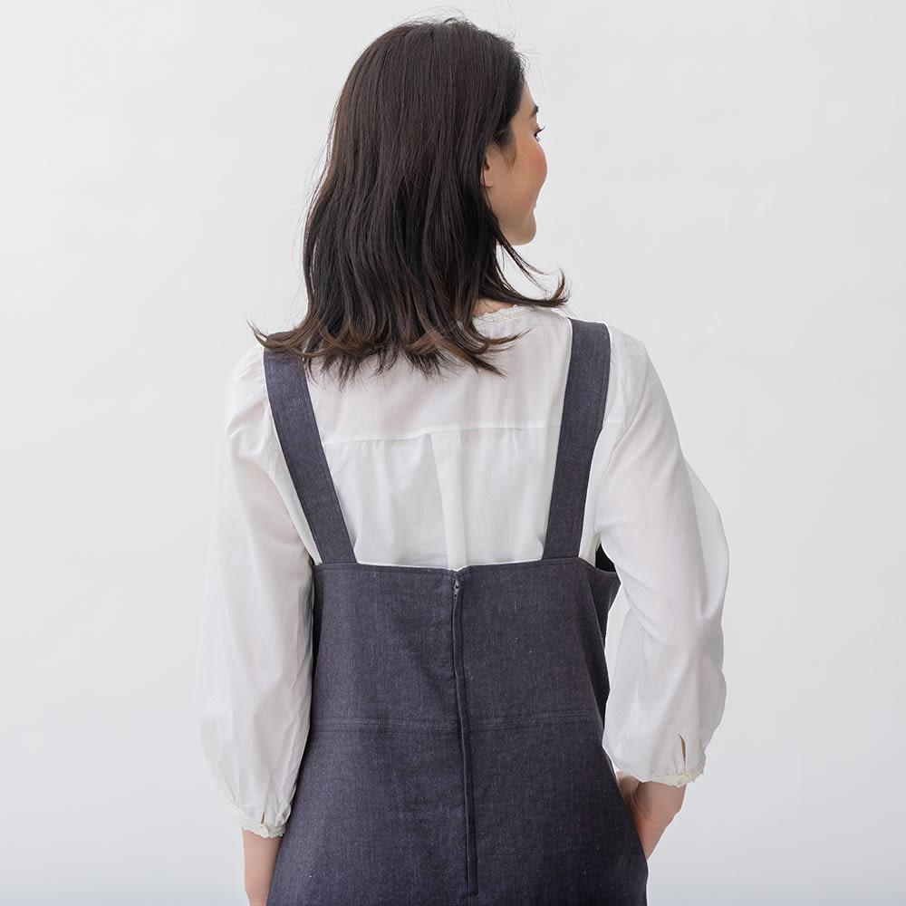 綿麻 シャンブレー ツイル ジャンパースカート カーキブラウン H156 着用サイズ:S-M