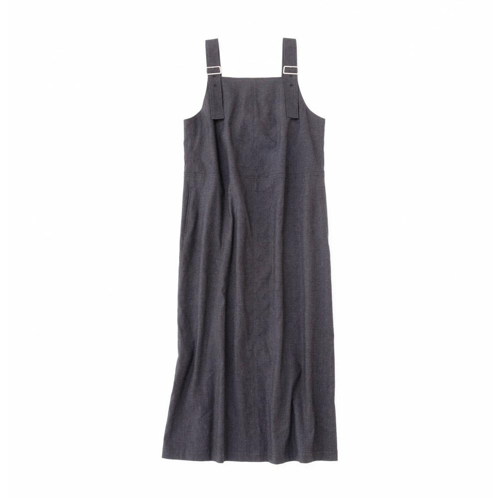 綿麻 シャンブレー ツイル ジャンパースカート 肩紐は3段階で調整可能です。