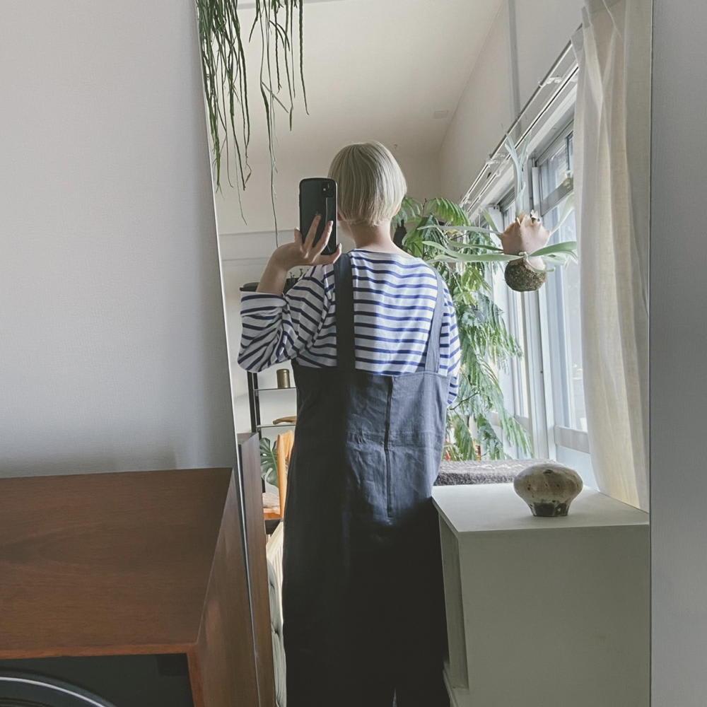 綿麻 シャンブレー ツイル ジャンパースカート BACK