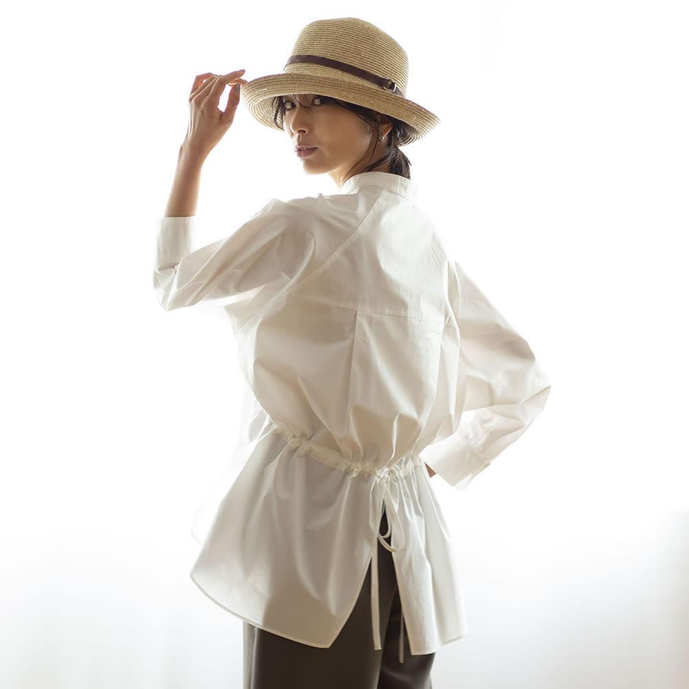 コットン ブロード スキッパーシャツ ホワイト H163 着用サイズ:1(MーL) (BACK)
