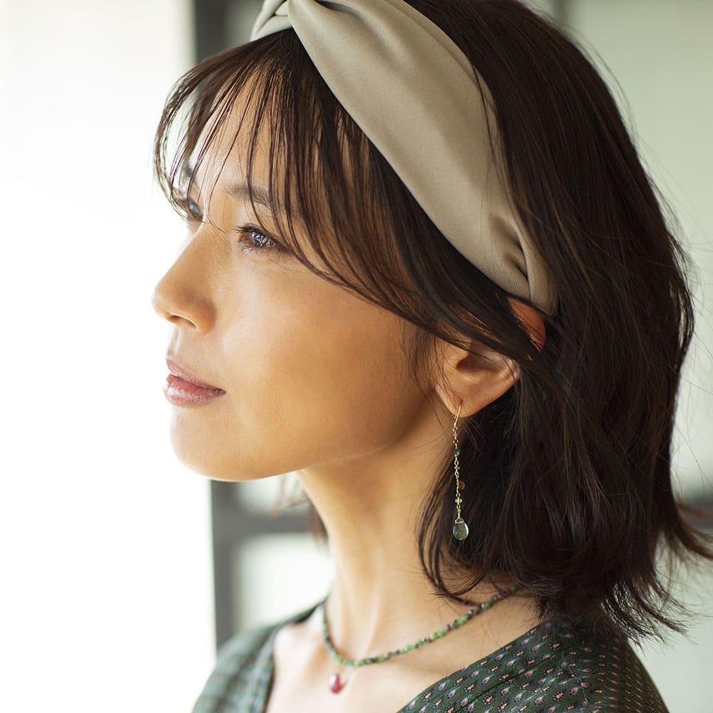 YUKIKO OKURA/ユキコ・オオクラ K18 グリーンクォーツ イヤリング・ピアス コーディネート例