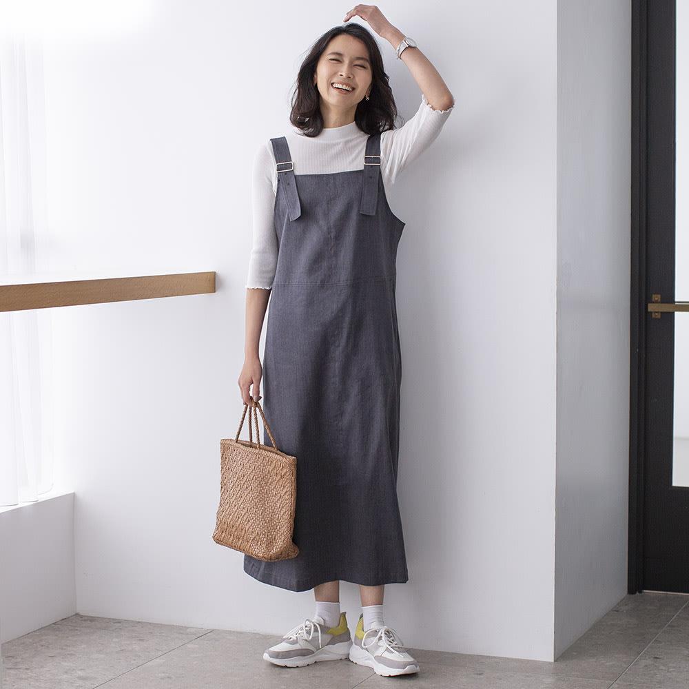 綿麻 シャンブレー ツイル ジャンパースカート カーキブラウン H163 着用サイズ:S-M