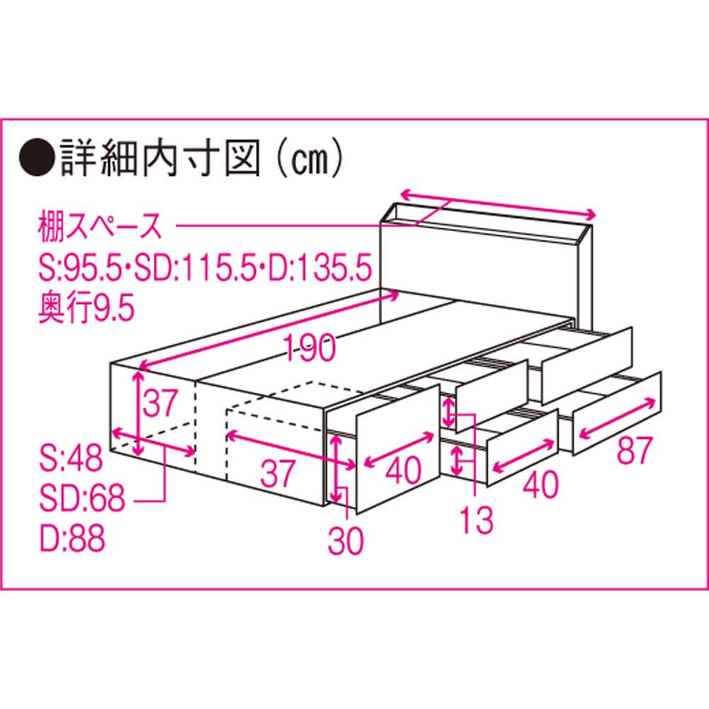 【レンタル仮申込】光沢が美しい収納ベッド フレームのみ ダブル 詳細内寸図(単位cm)