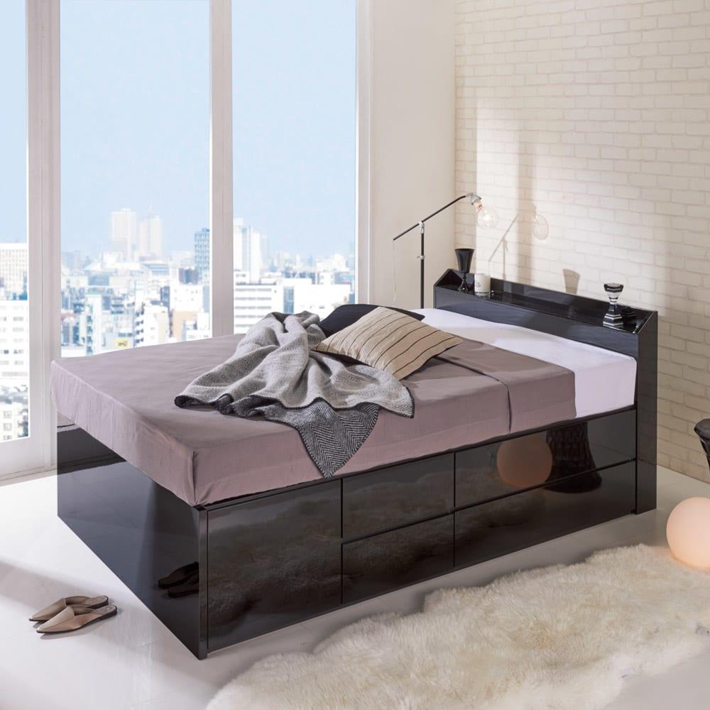 【レンタル仮申込】光沢が美しい収納ベッド フレームのみ ダブル (イ)ブラック ※写真はダブルサイズです。お届けはフレームのみとなります。