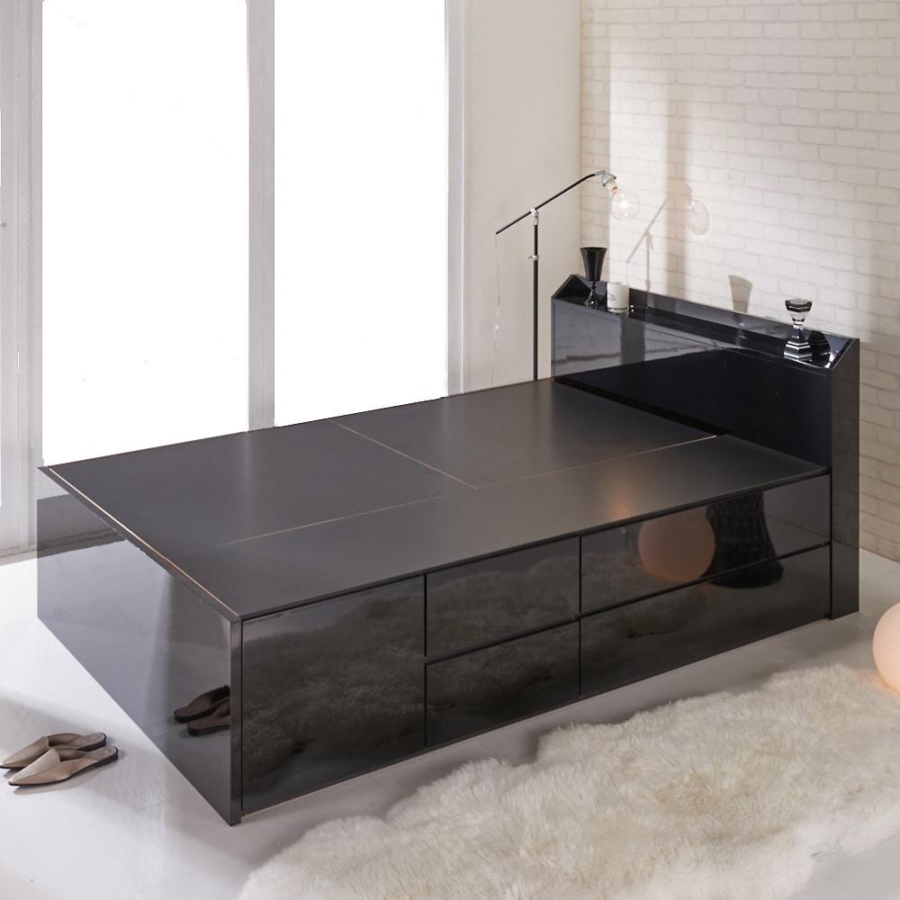 【レンタル仮申込】光沢が美しい収納ベッド フレームのみ ダブル (イ)ブラック ※写真はダブルサイズです。