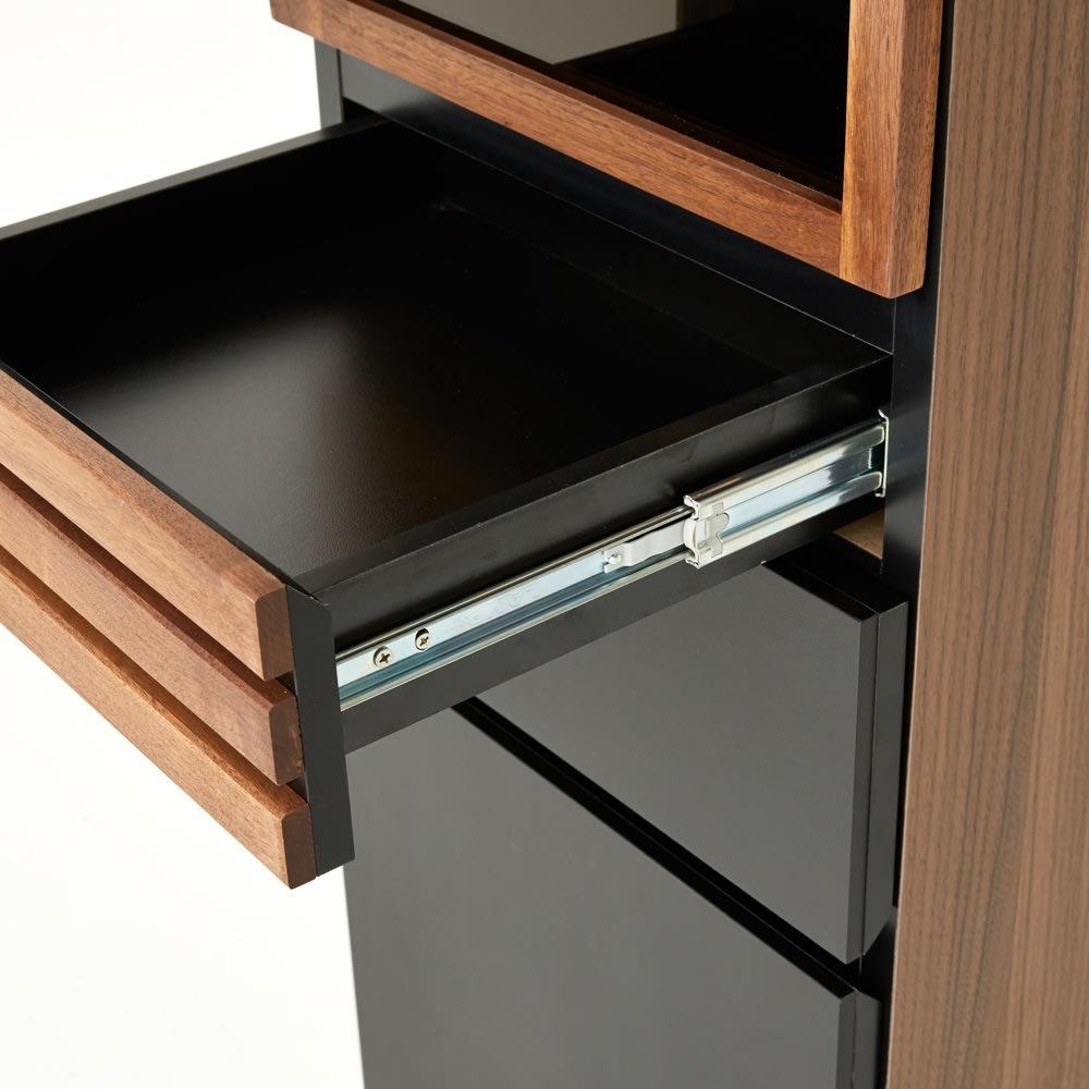 【レンタル商品】AlusStyle/アルススタイル 薄型ホームオフィス ブックシェルフ幅40.5cm 引出には、開閉滑らかなフルスライドレールを使用しています。