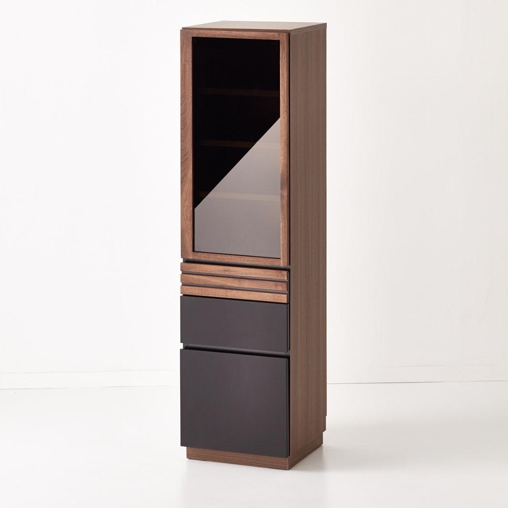 【レンタル商品】AlusStyle/アルススタイル 薄型ホームオフィス ブックシェルフ幅40.5cm 側面には、ウォルナット柄をリアルに再現した表面材を使用。サイドから見てもシックな雰囲気の仕上がり。
