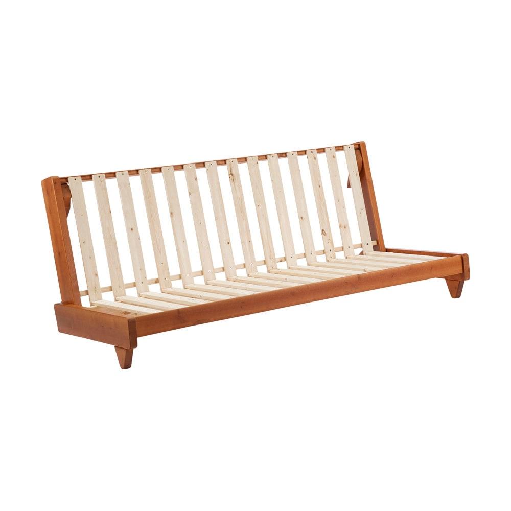 【レンタル商品】ヨーロッパ製ソファベッド Karup カーラップ 布団マットを支えるのは、無塗装のパイン天然木。