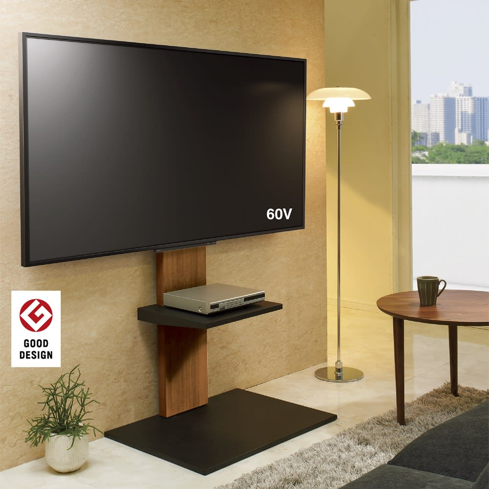 【レンタル商品】WALL/ウォール 壁寄せテレビスタンド ロータイプ 色見本(ウ)ダークブラウン ※写真はハイタイプに棚板(別売り)を使用しています。