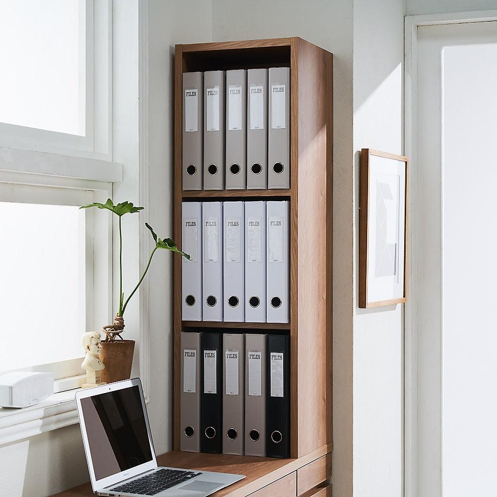 【レンタル商品】天然木調 薄型コンパクトオフィスシリーズ サイドラック・幅30cm ラック部収納イメージ(1)…A4ファイル3段の収納。※可動棚板1枚使用