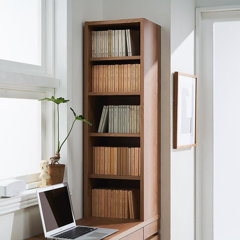 【レンタル商品】天然木調 薄型コンパクトオフィスシリーズ サイドラック・幅30cm ラック部収納イメージ(3)…文庫本5段の収納。※可動棚板3枚使用