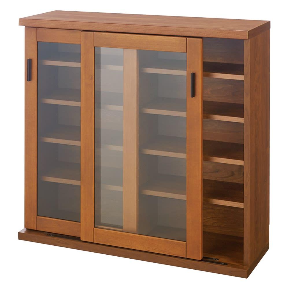 【レンタル商品】アルダー天然木ガラス引き戸本棚(書棚) 幅90.5cm (イ)ダークブラウン