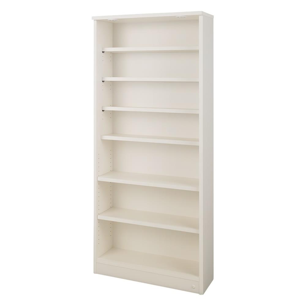 【レンタル商品】美しく本を照らすLED付き 本を愛する人のための書店風本棚 幅80cm (イ)ホワイト ※棚板は水平な状態でも使用できます。