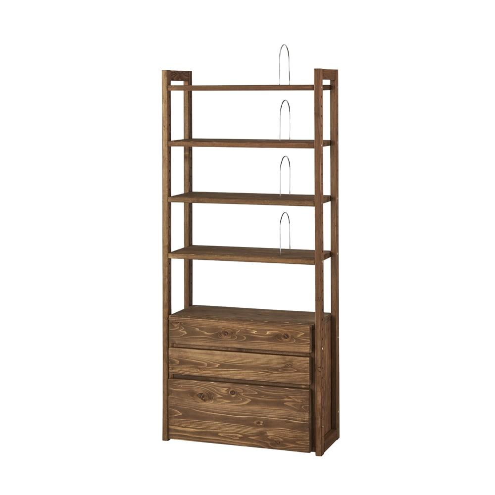 【レンタル商品】国産杉頑丈ディスプレイ本棚(ヴィンテージ風ラック) 幅60cm 引き出しタイプ (イ)ダークブラウン ※写真は幅80cmタイプです。