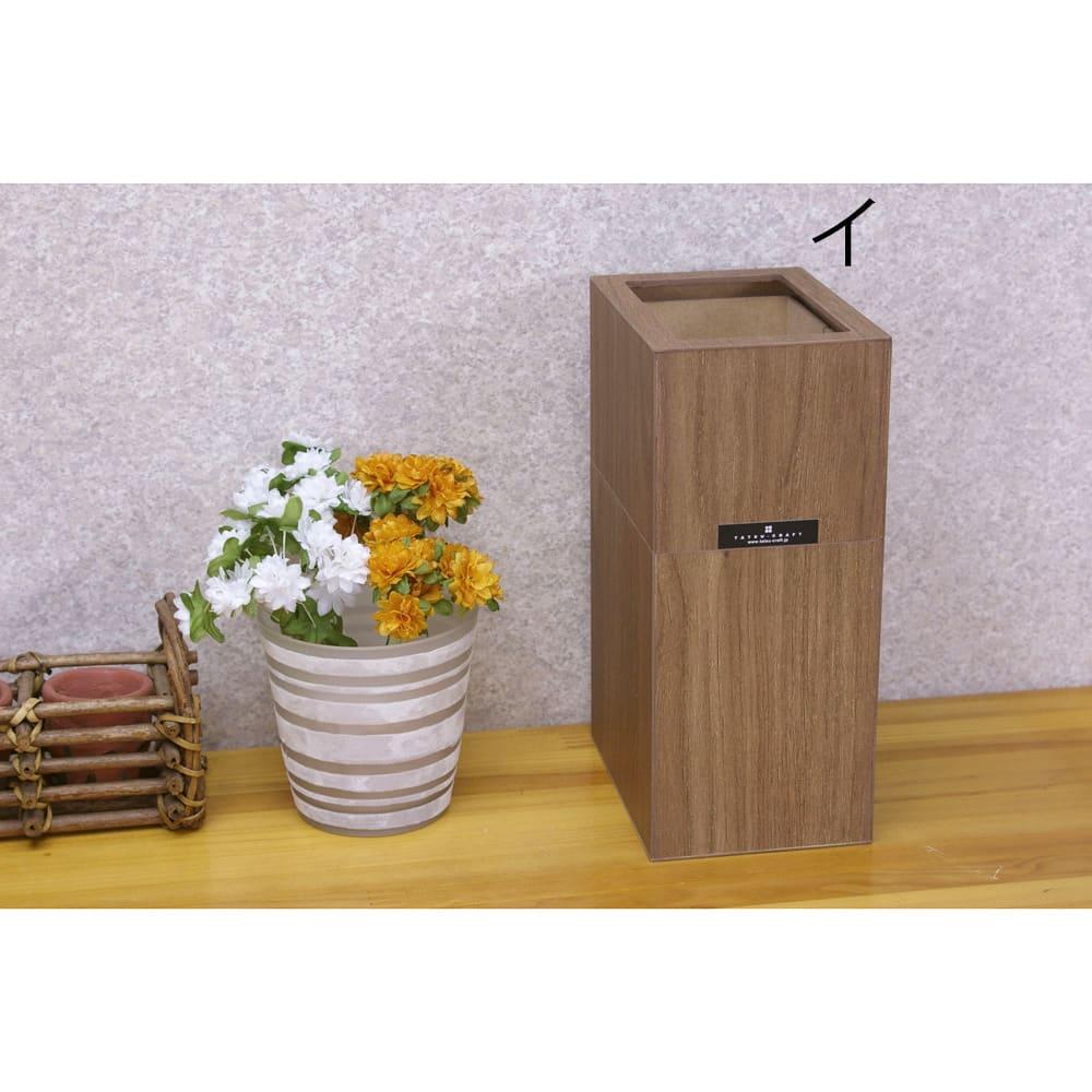 バスク すっきり見えるダストボックス/ゴミ箱 Sサイズ イ:ブラウン 見た目もすっきりのダストボックス