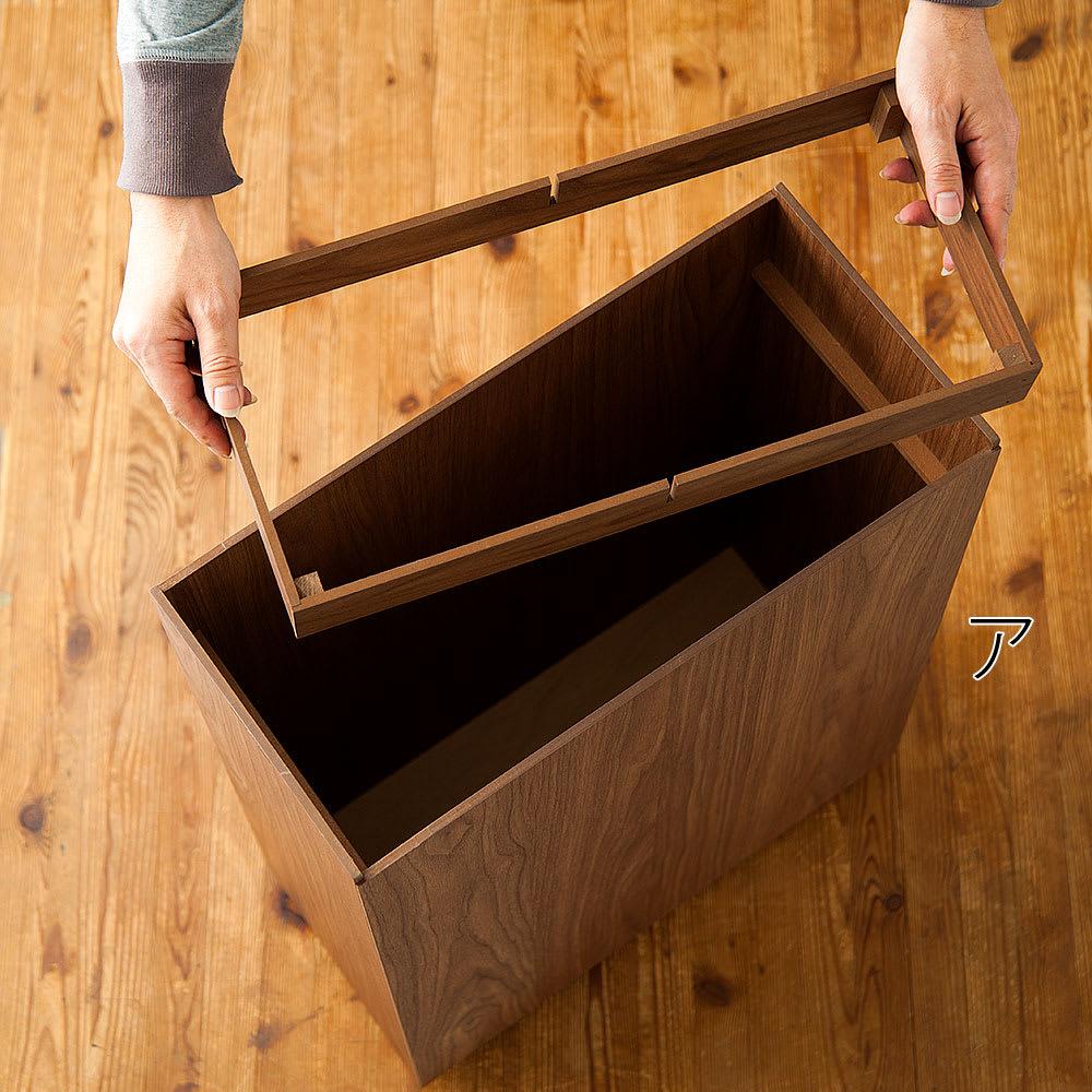 バスク インテリアに映えるキャスター付きダストボックス/ゴミ箱 容量45L(2分別対応可能) ポリ袋ストッパーを外して