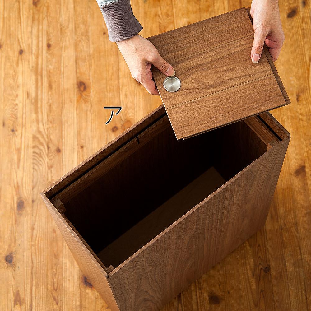 バスク インテリアに映えるキャスター付きダストボックス/ゴミ箱 容量45L(2分別対応可能) 蓋2枚を外せばポリ袋ストッパーが内臓