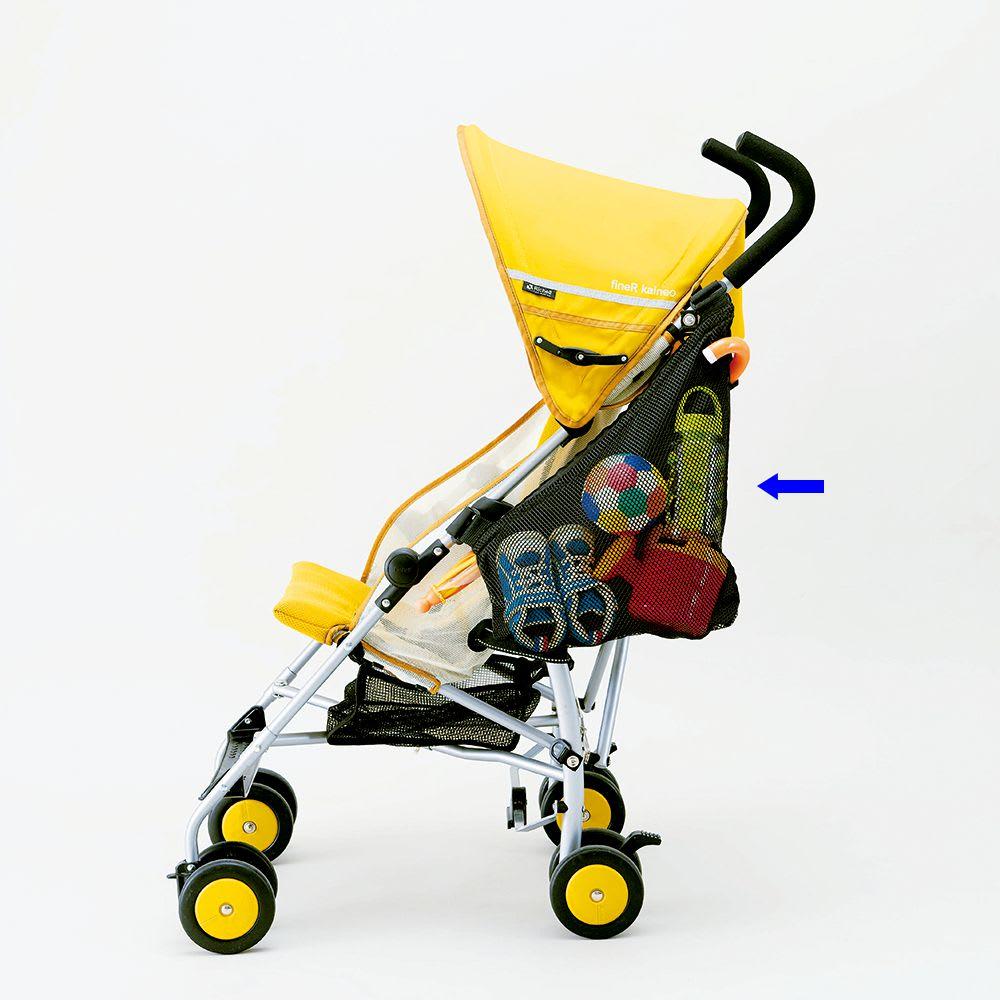 ベビーカーサイドポケット(傘ホルダー付) ベビーカーの左側に取り付けてください。右側面では使用できません。