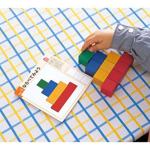 くもん/図形キューブつみき 知育玩具 パターンカードと同じ形に並べましょう。