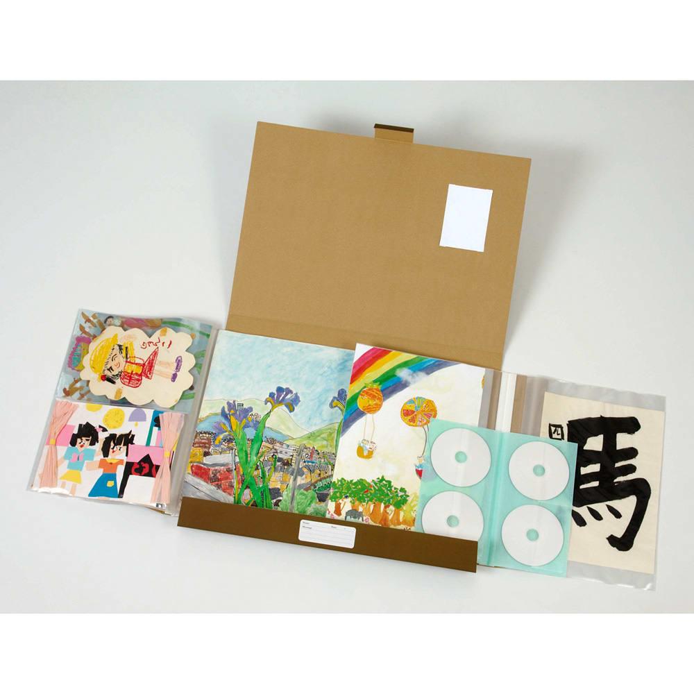 お絵かき作品ファイル(ナチュラル) 四ツ切り、八ツ切り、カードサイズの3サイズのフィルムポケット式