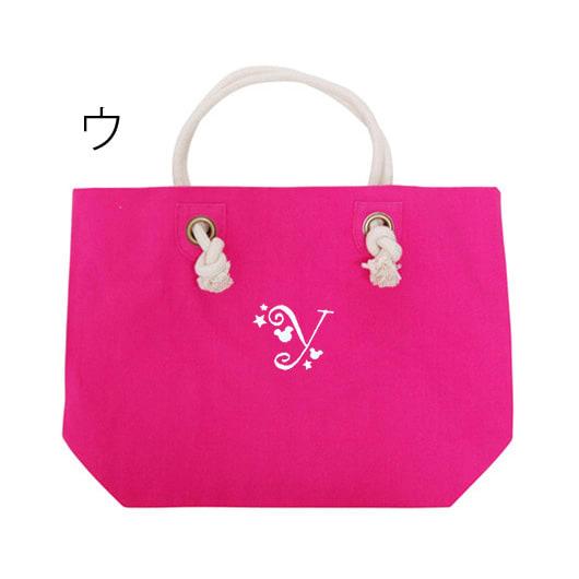 ディアカーズ刺繍イニシャルトートバッグ(L) Disney/ディズニー ウ:ピンク×文字白