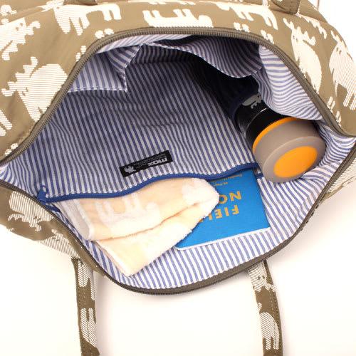moz(モズ)/エルクプリントトートバッグ Sサイズ|エルク 小物からペットボトルなど、様々な荷物の収納が可能。