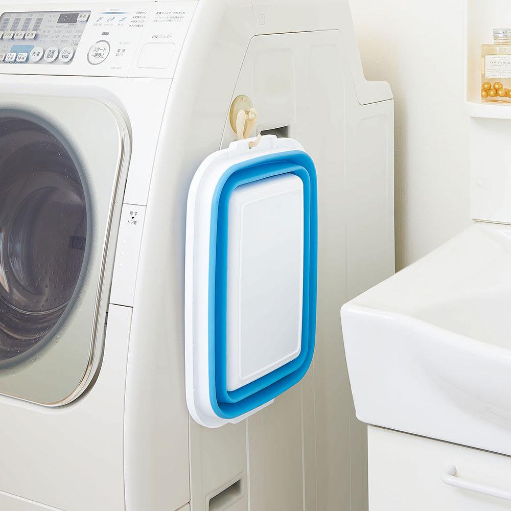 薄く畳める洗い桶 洗濯機の側面に!吊り下げもOK!