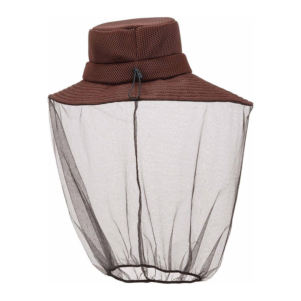 クールマックス虫除けハット (ア)ブラウン…襟元からの虫の侵入を防ぐゴム入りネット。