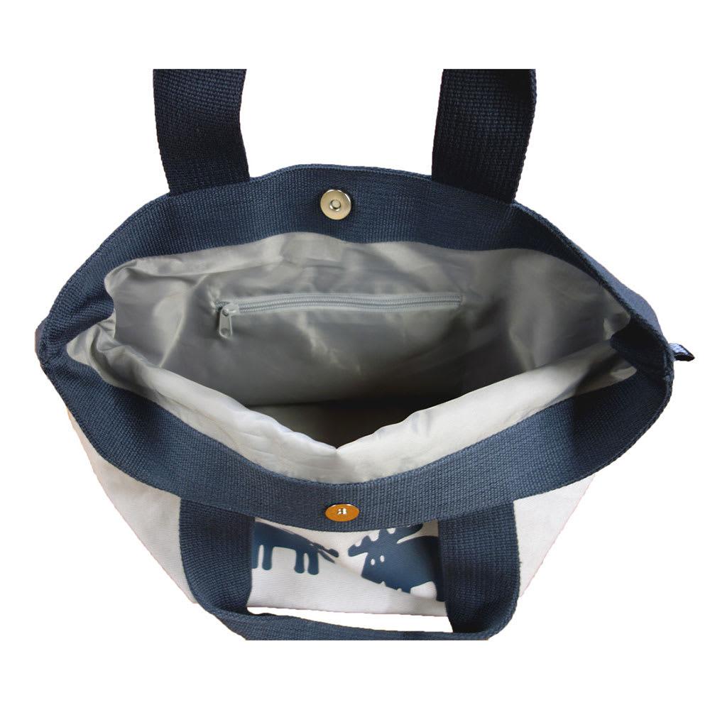 moz(モズ)/トートバッグ mono エルク 内側にファスナー付ポケットが1つあるので鍵や貴重品を入れるのに役立ちます。