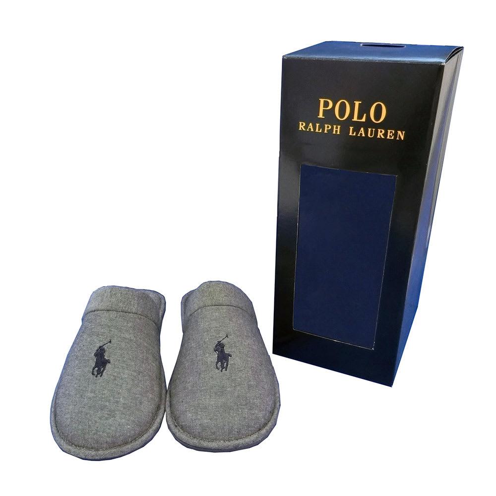 POLO RALPHLAUREN(ポロラルフローレン)/ルームシューズ SUNDAY SCUFF(サンデースカッフ)(24.5-27cm) (ア)グレー/BOX入り