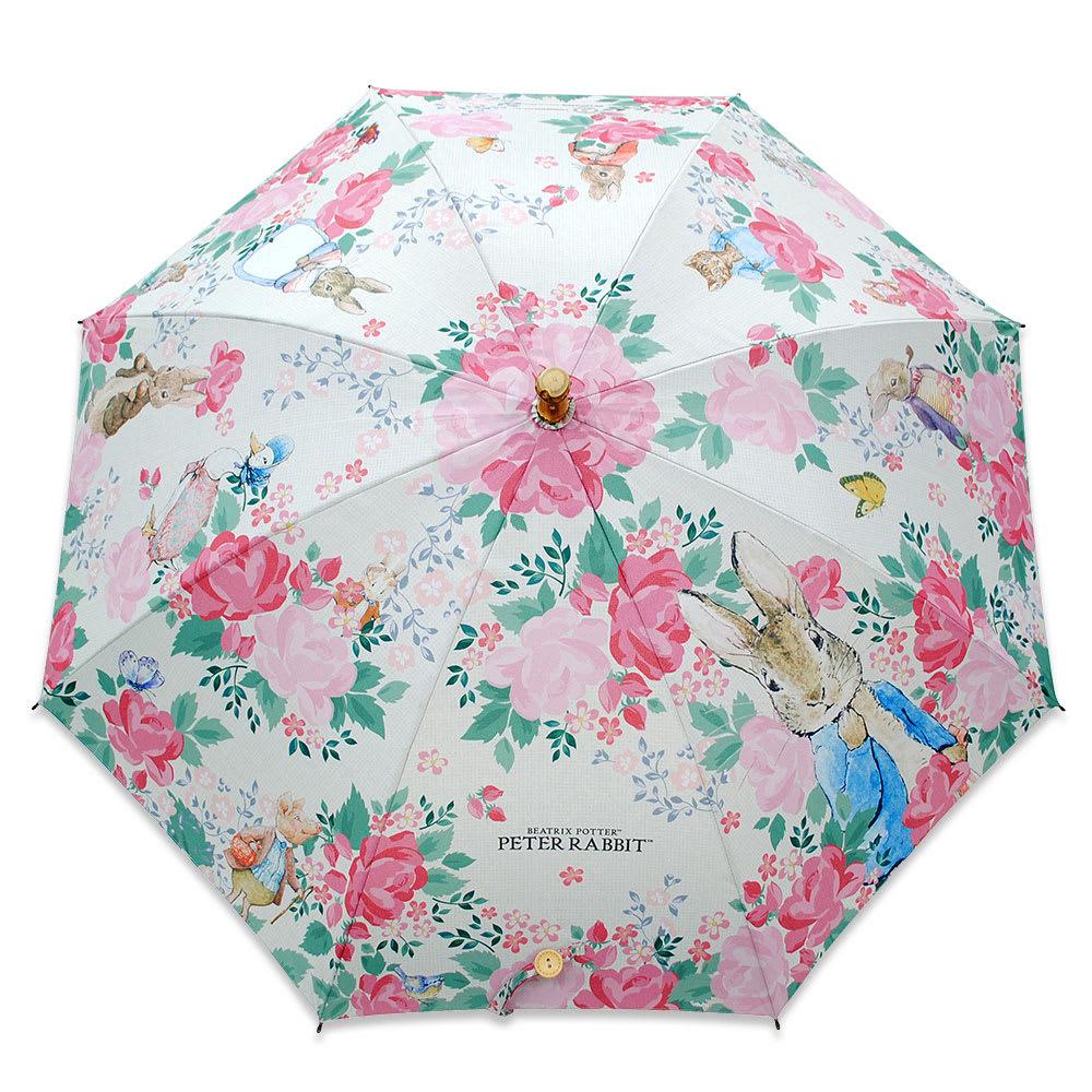 ピーターラビットのUVカット晴雨兼用傘 フラワー ピーターラビットと仲間たちが花に囲まれた、やさしいデザイン
