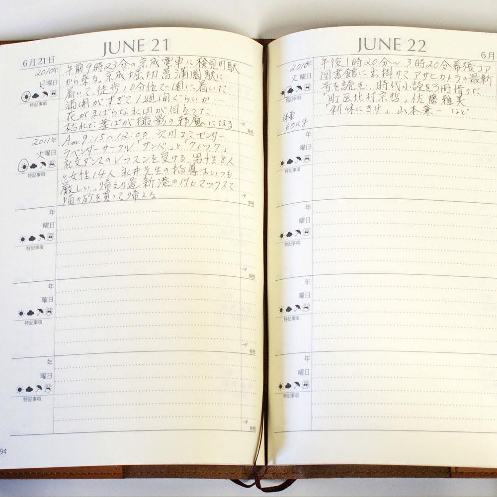 星の王子さま 革カバー5年日記 一日6行の書込スペースは、初心者も始めやすく、ストレスなく続けることができます。