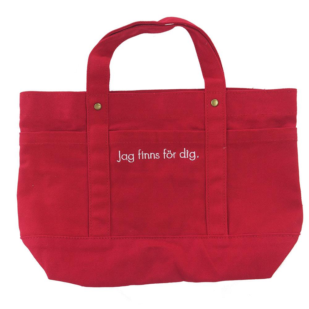 moz(モズ)/帆布トートバッグ Mサイズ|エルク (ア)レッド/裏面には、スウェーデン語で、「あなたのためにぼくはここにいるよ! 」という文字が。