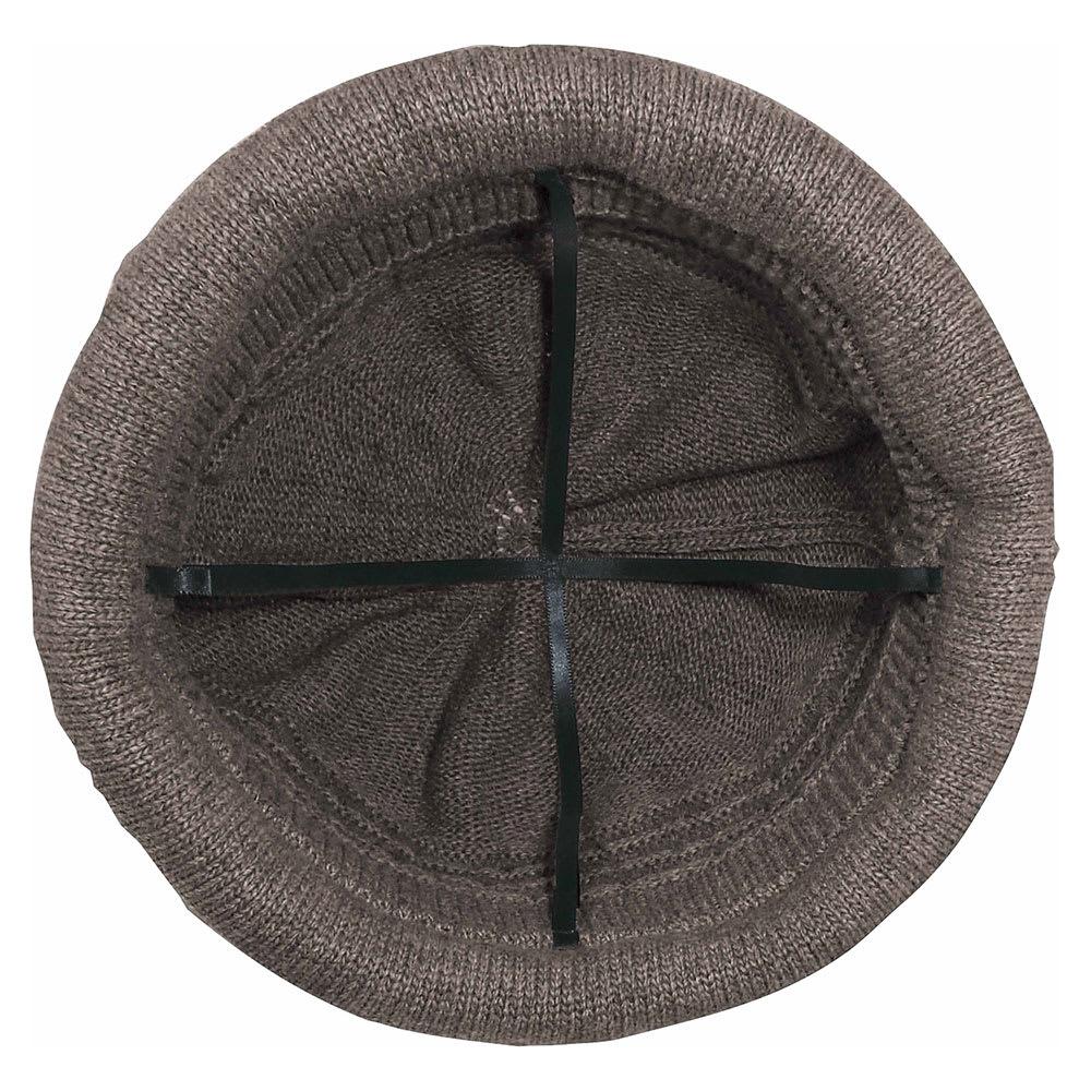 髪型ふんわり蓄熱ニット帽 日本製 (イ)ダークブラウン/大きめ頭囲+十字リボン構造