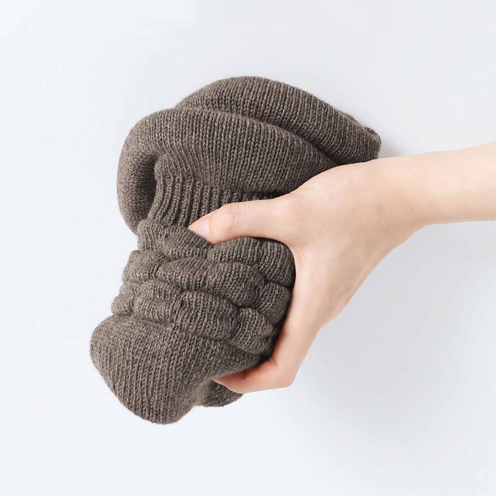 髪型ふんわり蓄熱ニット帽 日本製 (イ)ダークブラウン/やわらかく携帯に便利