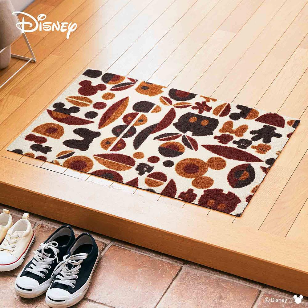 ミッキー&ミニー/ 玄関マット 50×75cm|Disney(ディズニー) (イ)ブラウンモチーフ
