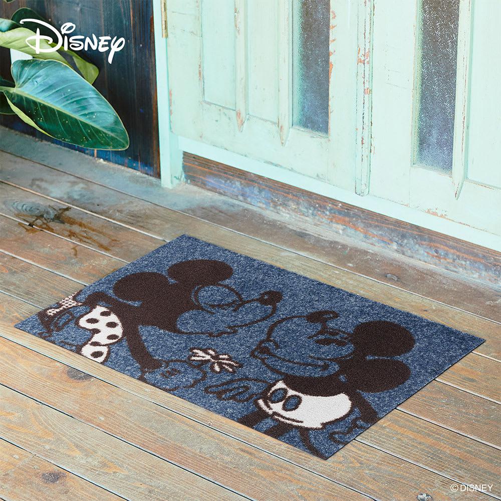 ミッキー&ミニー/ 玄関マット 50×75cm|Disney(ディズニー) (ア)ブラック