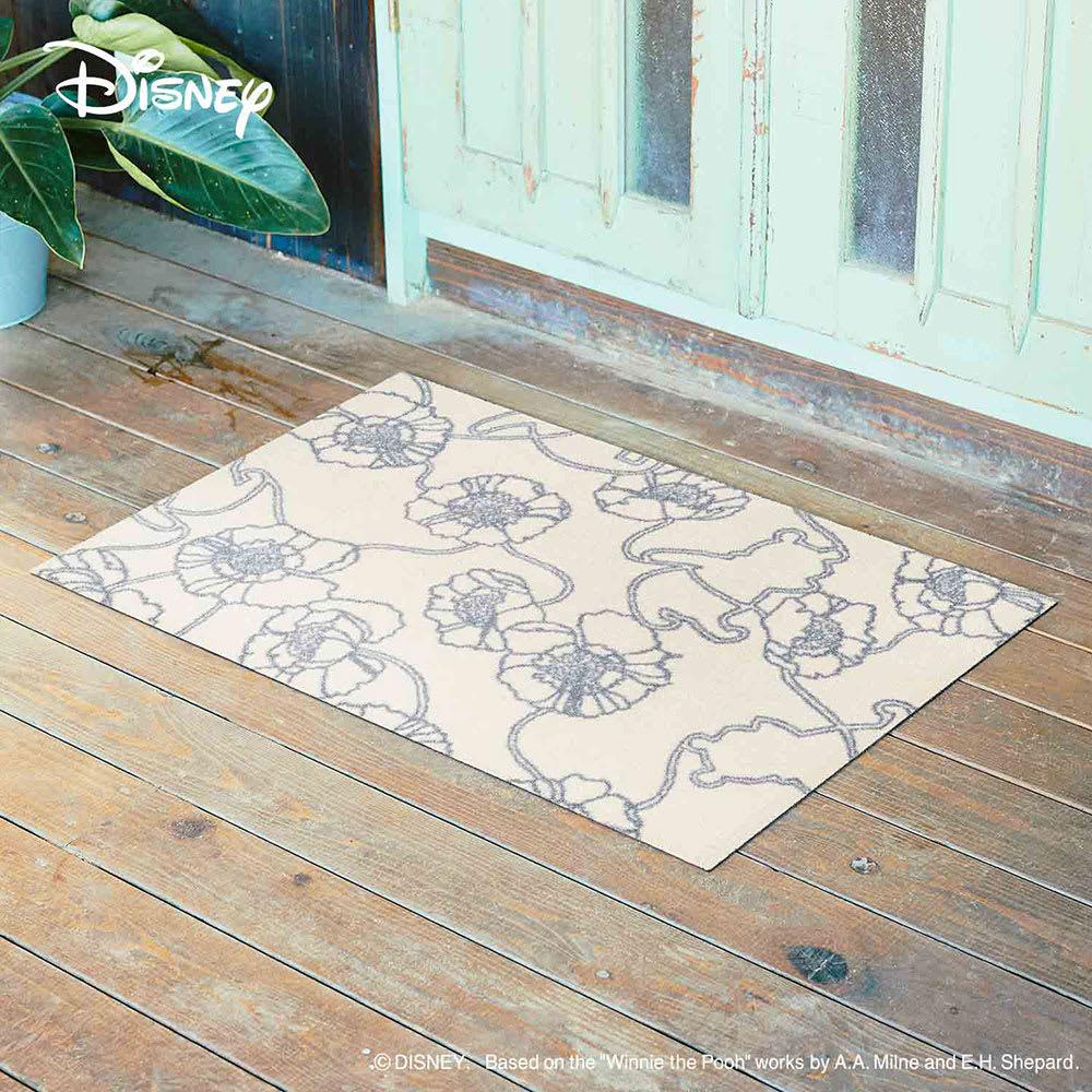 Pooh(くまのプーさん)/玄関マット 60×90cm|Disney(ディズニー) (ウ)ベージュアネモネ