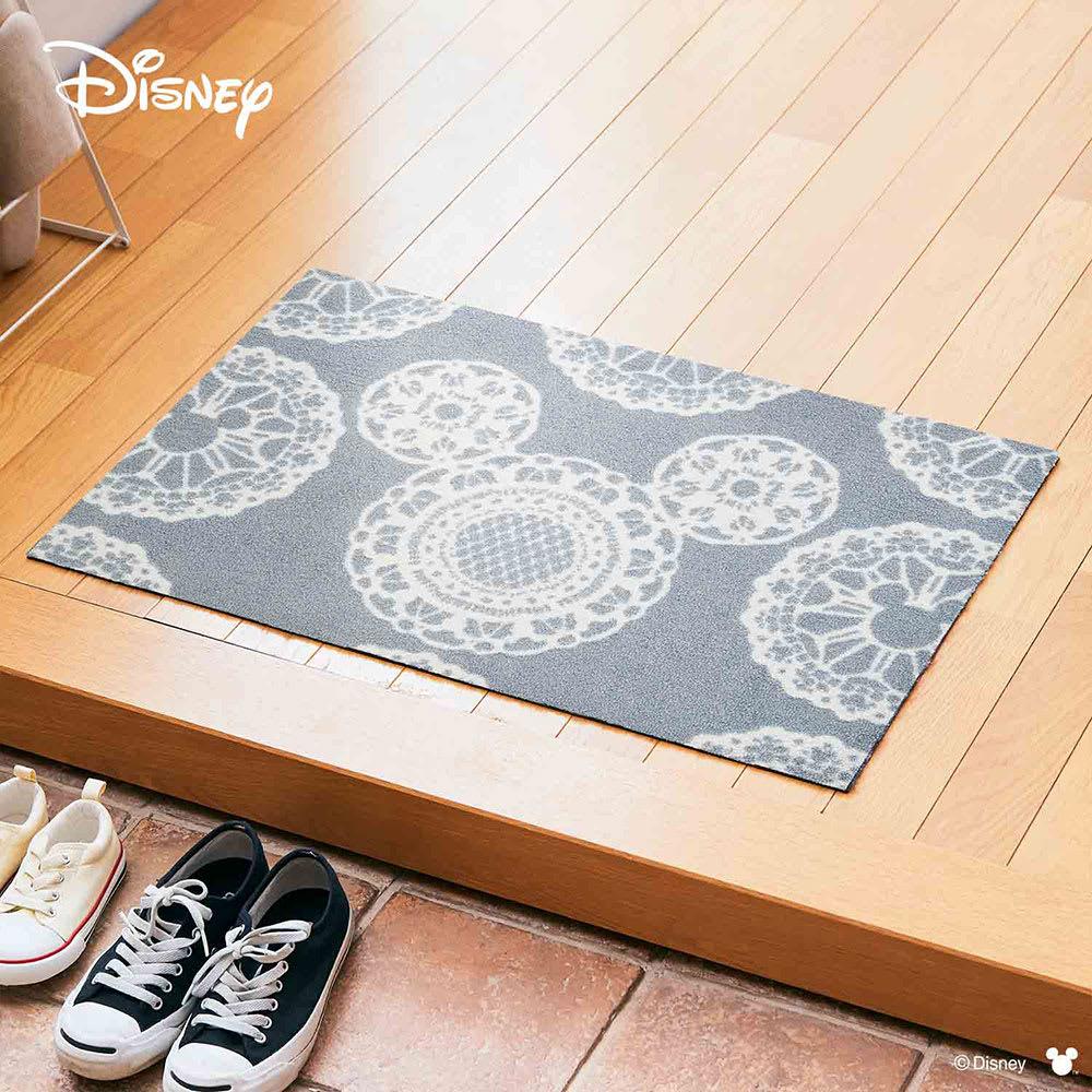 ミッキー/玄関マット レース 50×75cm|Disney(ディズニー) (イ)グレー