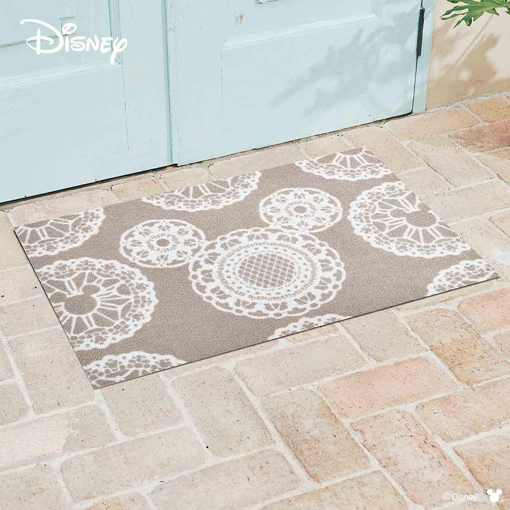 ミッキー/玄関マット レース 60×90cm|Disney(ディズニー) (ウ)グレージュ