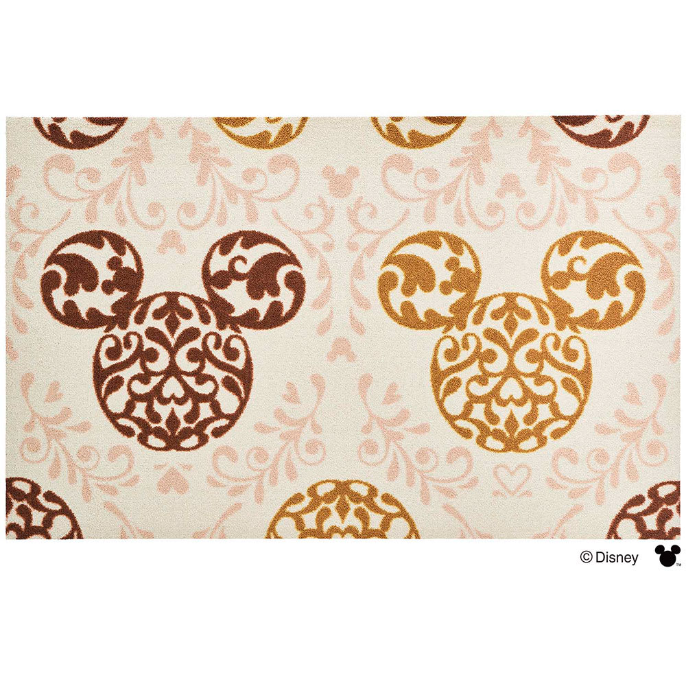 ミッキー/玄関マット ロココ調 75×120cm|Disney(ディズニー) (イ)ブラウン